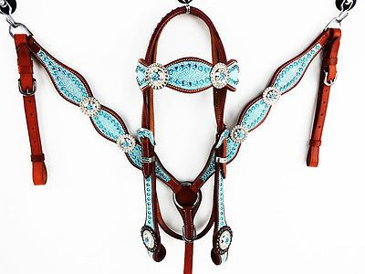 TURQUOISE STINGRAY LEATHER HEADSTALL WESTERN HORSE BRIDLE BREASTCOLLAR TACK SET