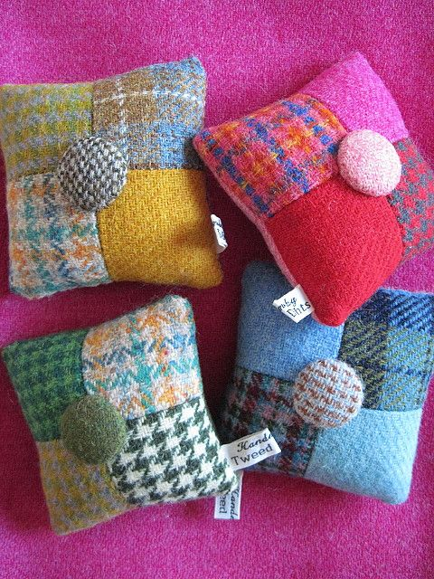 Patchwork, and fabric button detail. Harris Tweed pincushions.                                                                                                                                                      More