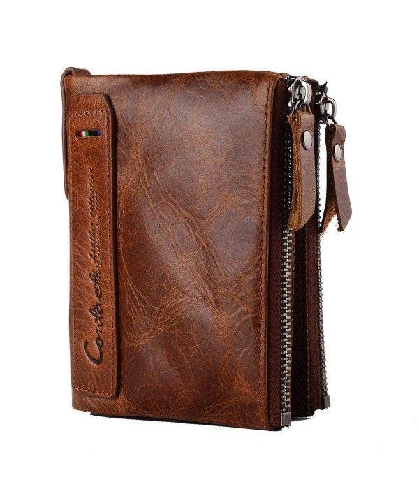 aeb87f8c1d53 Genuine Leather Bifold Wallet Double Zipper Pocket Design Vintage ...