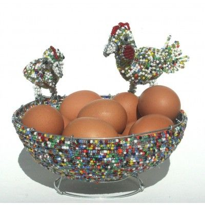 Multicolored wire beaded artwork handmade bowl with a beautifully crafted mother chicken and her baby chick– handcrafted to perfection in Africa.