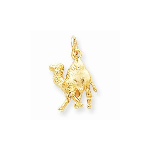 Solid 10k Yellow Gold Polished Camel Pendant