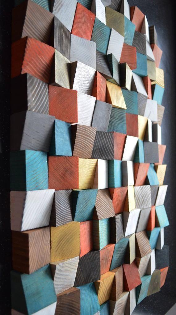 Geometrische Holzkunst, Holzkunst, 3D Wandkunst, Abstrakte Malerei auf Holz, Wandinstallation, Holzmuster, Holzmosaik, Holzwandpaneele