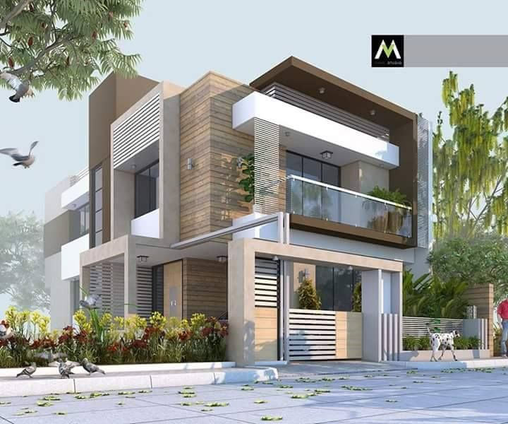 Home Designing, House Architecture, Facade, House Design, Ahmedabad, Family  Houses, 3ds Max, Modern Houses, Villa