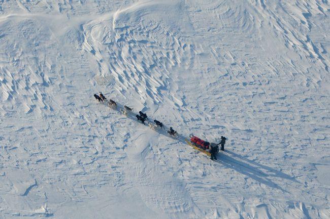 凍ったシャノン海峡を順調に駆け抜ける犬ぞり警備隊。時速10キロで進めれば速いほうだ。天候の悪条件が重なると、雪にはまったそりを掘り起こす作業に時間をとられ、1日に1キロしか進めないこともある。