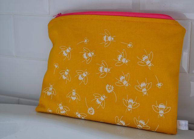 Hand printed wash bag - sunflower yellow (free UK postage) £16.50