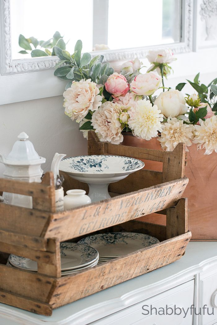 Simple Foolproof Ways To Decorate With Crates - Love these vintage stacking trays from @Shabbyfufu. Would love to figure out how to replicate the look and function