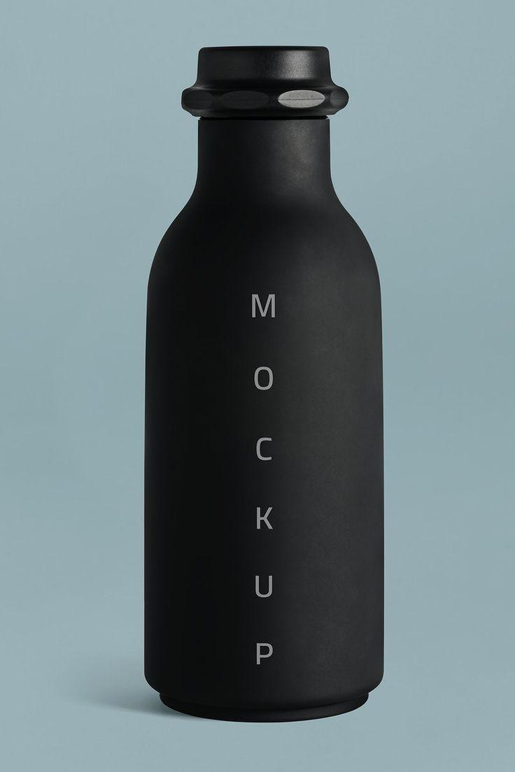 Download Premium Illustration Of Black Water Bottle Mockup On A Blue Black Water Bottles Bottle Mockup Water Bottle