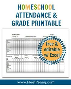 NEW at Meet Penny: Homeschool Attendance and Grades Printable #organization #homeschooling #printables