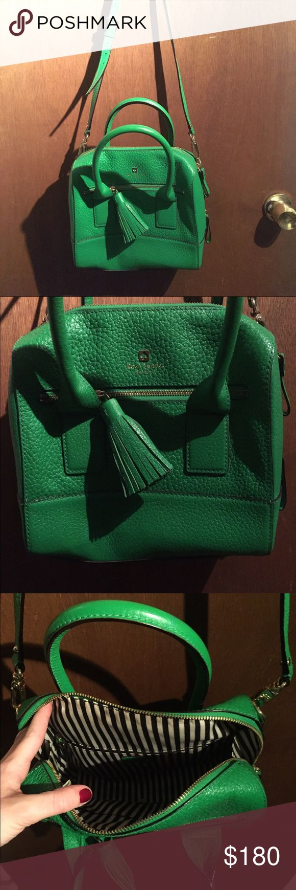 Kate Spade green cross body medium sized bag A beautiful Kate Spade green purse. Has a long strap for shoulder or a great double handle. Inside is black and white striped. In amazing condition. kate spade Bags Shoulder Bags