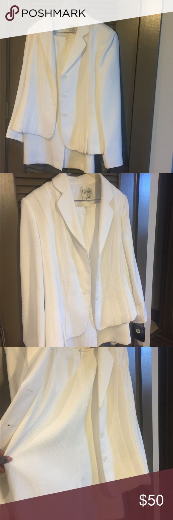 Plus size Cream skirt and jacket suit Skirt and blazer suit. Would be great winter white for holidays Le Suit Jackets & Coats Blazers
