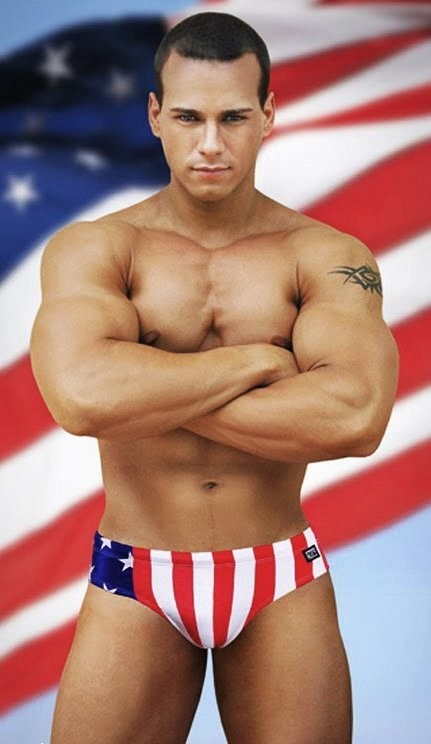 Tanned hunk wearing USA flag print speed