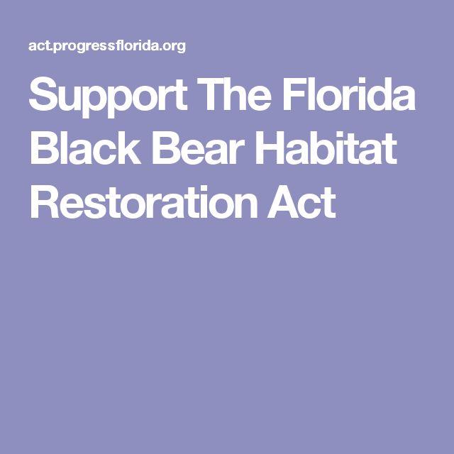 Support The Florida Black Bear Habitat Restoration Act