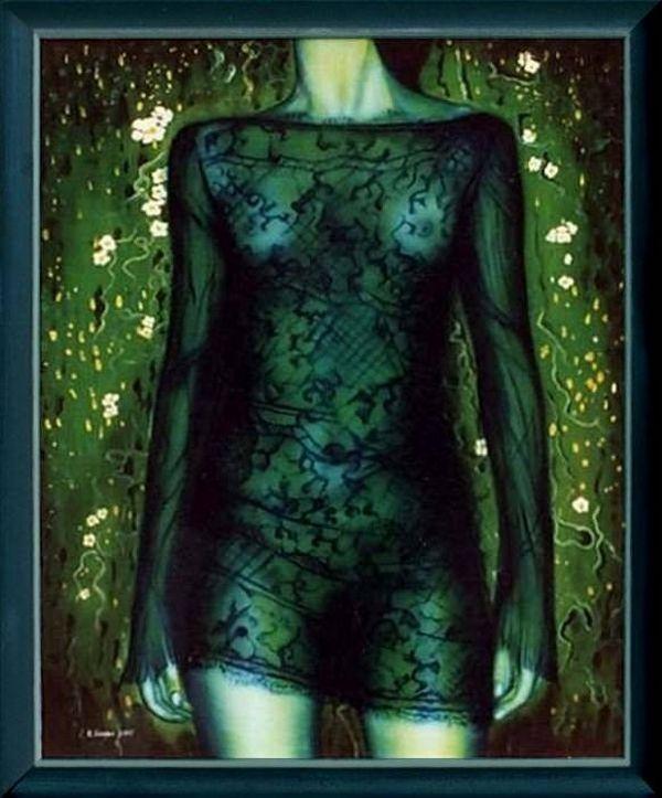 """Łukasz Kocjan MALARSTWO Seria """"KORONKI"""" zielony     The series """"LACE"""" green  olej na płótnie 92x70 cm.      oil on canvas 92x70 cm."""