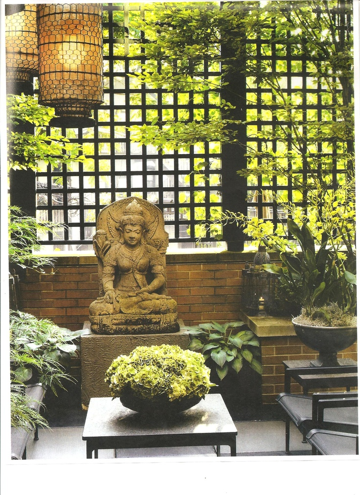 Asian Garden Art Part - 28: Terrace Garden With Asian Lanterns With Quan Yin Statue Found In Artistic  Interiors, Designing With