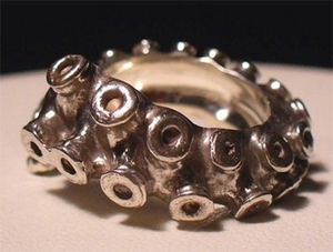 Octopus Tentacle Sterling Silver Ring - I'd like it better as a