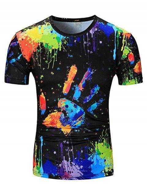 6dffe770fc89fc Colorful Splatter Paint Handprint Print T-Shirt - COLORMIX L | T ...