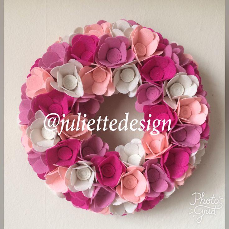 Felt Wreath, Felt Flowers Wreath, Nursery Wreath, Pink Wreath, Nursery Decoration by juliettesdesigntr on Etsy https://www.etsy.com/listing/527333934/felt-wreath-felt-flowers-wreath-nursery