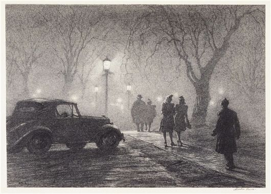 Martin Lewis (American, 1881-1962) Misty Night, Danbury, c. 1947   Lithograph