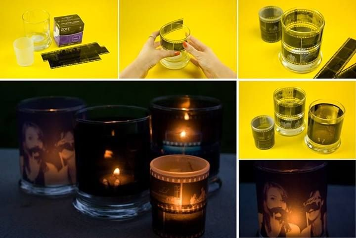 DIY Photo Negative Candle Holders