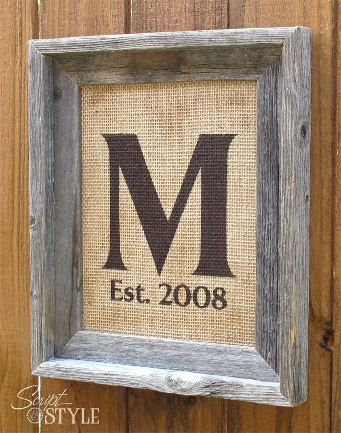 burlap + monogram + wedding date ( i have a great idea to make mini ones of these)