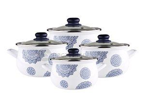 Kawałek nieba w kuchni:) Lekka kolorystyka i subtelne wzory - układ idealny! #niebo #garnki #akcesoria #biel #komplet #kuchnia #gotowanie