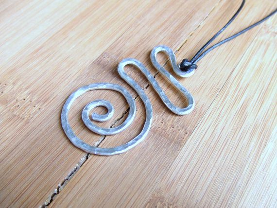 Spiral Pendant Aluminum Pendant Wire Wrap Pendant Hammered Metal Pendant Jewelry Gifts Under 20 Artisan Handmade via Etsy