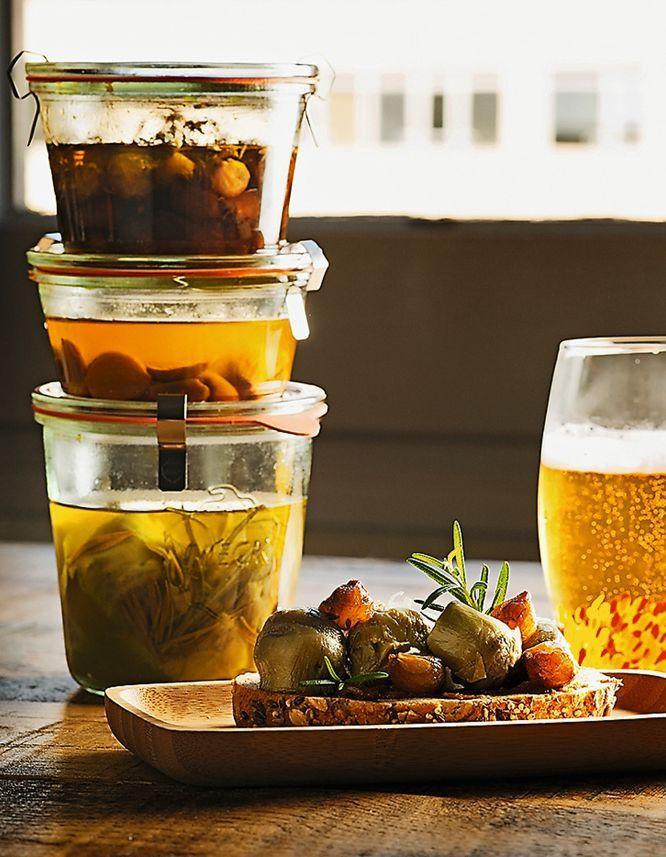 olla a presión /Tosta de alcachofas, cebollIitas y ajo caramelizado./con receta.