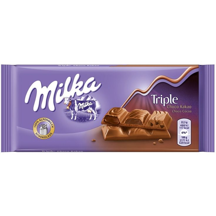 Milka Triple Choco Cocoa combines three irresistible taste experiences in a delicate Alpine milk chocalate bar: a liquid chocolate filling, a wonderfully creamy and an exciting crispy filling with Oreo pieces.Store cool and dry....