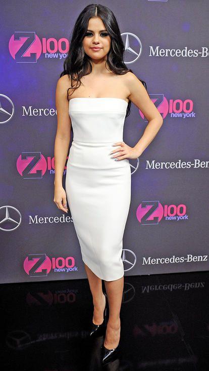 Selena Gomez in a strapless white Victoria Beckham midi dress