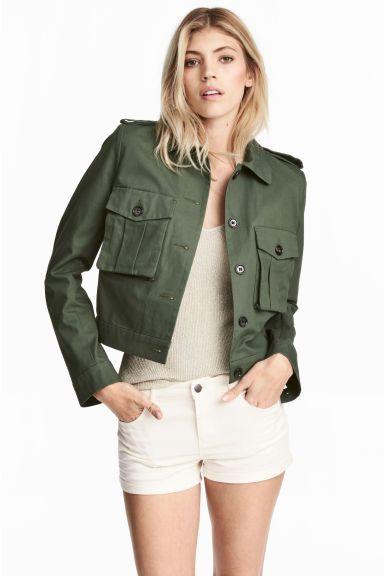 Short cargo jacket - Dark green - Ladies   H&M