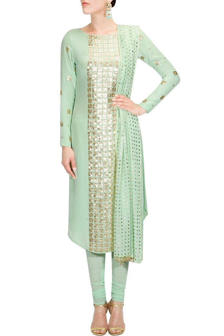 Mint green floral sequins embellished kurta set available only at Pernia's Pop Up Shop.