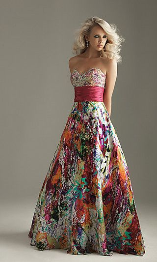Strapless sweetheart print dress with beading.