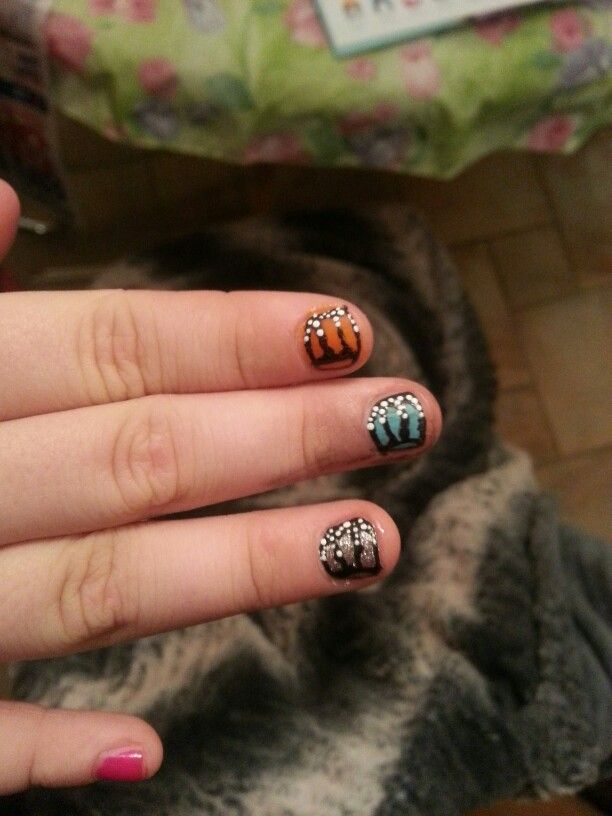 Butterfly nails i did on a kid I was baby sitting