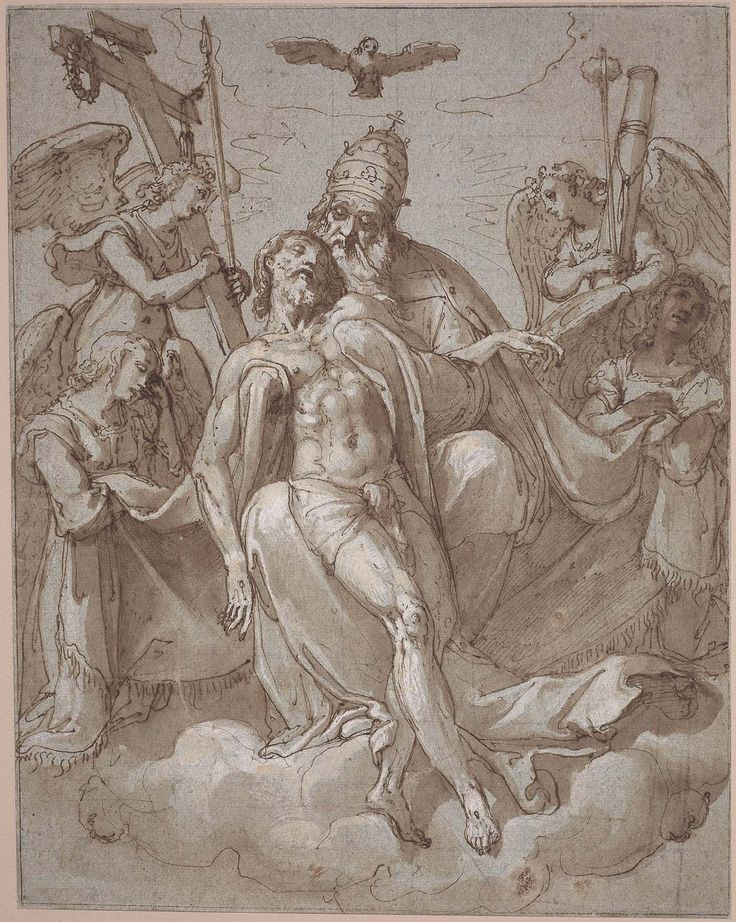 Federico Zuccaro (Federico Zuccari), c.1540/1541-1609, Italian, The Holy Trinity and Four Angels, late 16th-early 17th century.  Pen and brown ink and brush and brown wash, heightened with white on pale blue-gray paper, lightly squared in black chalk; 32.5 x 25.7 cm.  Museum of Fine Arts, Boston.  Mannerism.