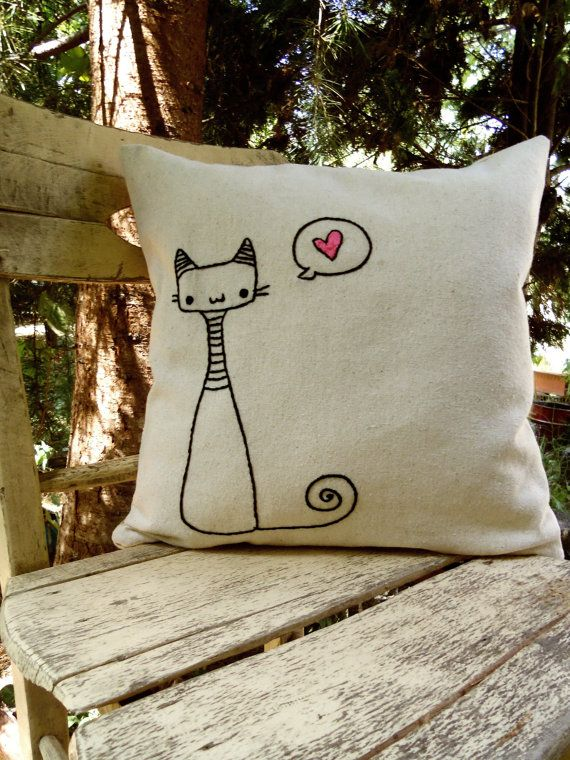 cats on the tree Pillow Hand Embroidered Pillow Cover neutral natural linen…