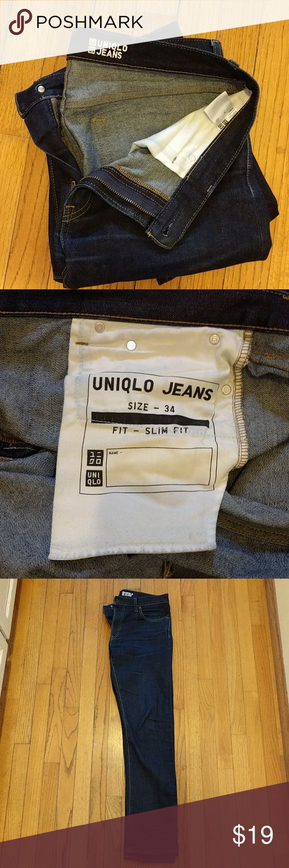 UNIQLO JEANS 34 x 34 / Slim Fit / Like New Nice pair of UNIQLO Jeans. Zipper Fly. Clean, No rips, No stains, No wear. Very well made. Size seems to run a bit small in UNIQLO but these are also slim fit so they do indeed hug the thighs. Very comfortable. Uniqlo Jeans Slim