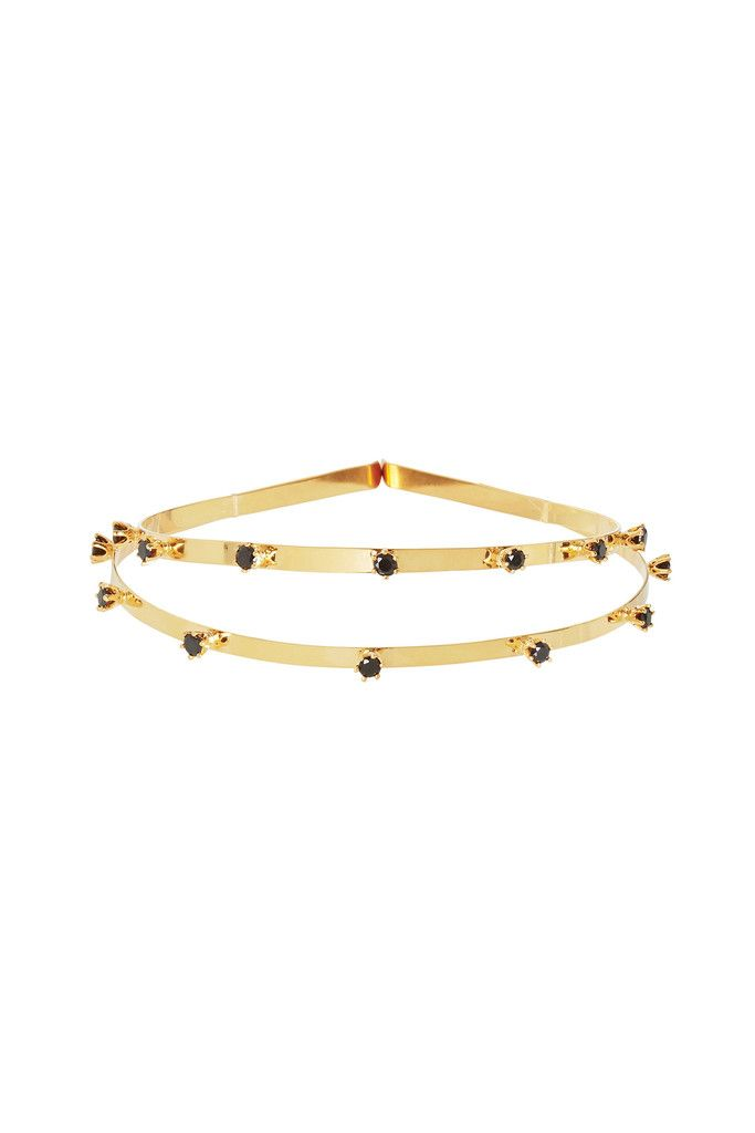 Venezia Twin Crown in Black Garnet and Gold | Adjustable to be worn high or as a double band.
