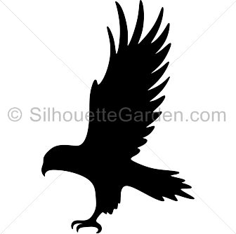 Hawk silhouette clip art. Download free versions of the image in EPS, JPG, PDF, PNG, and SVG formats at http://silhouettegarden.com/download/hawk-silhouette/