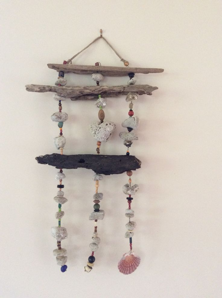 Flotsam and jetsam wall hanging. Driftwood and pumice with beads.