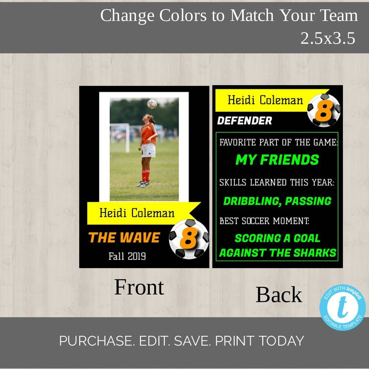 Editable soccer player card template 2 sided exchange card