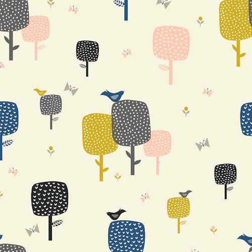 Septembre bleu  arbres sur crème  Dashwood par SewBeeHappybyLyndsey