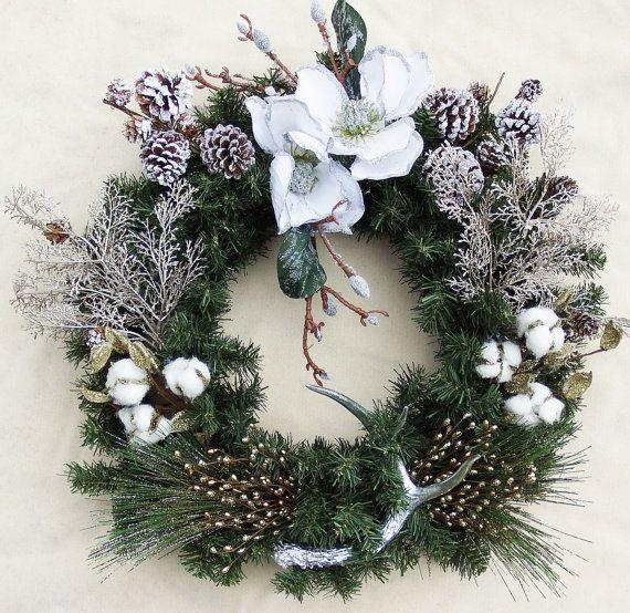 Dixie Wreath White poinsettia wreath Cotton by DesignsOnHoliday