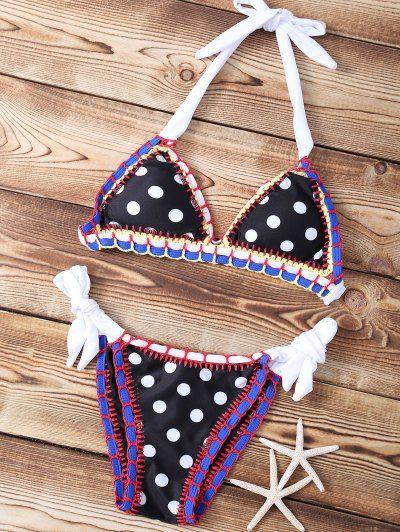 Halter Polka Dot Stitched String Bikini Set   Psychedelic Monk