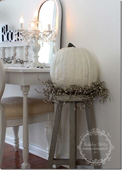 DIY- In Love !!  Shabby Chic Fall Pumpkin ...how to paint an orange pumpkin white and all the other sweet details by @Shannon Stone Gable