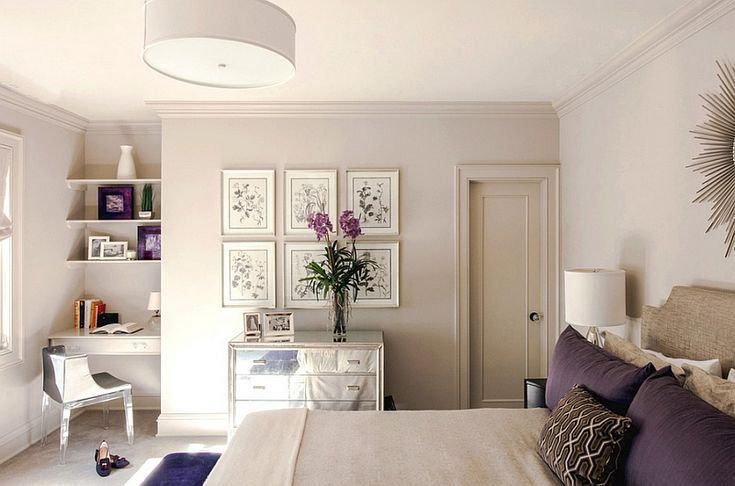 Chic bedroom with a compact workstation in the corner