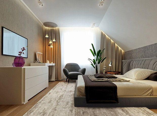 Комфортная общая зона кухни-гостиной, отдельная гардеробная на первом этаже, спальни и ванная комната в мансарде – этот проект дома для семьи с детьми вам точно понравится