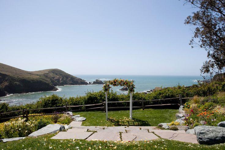 Oceanfront wedding alter and gardens.