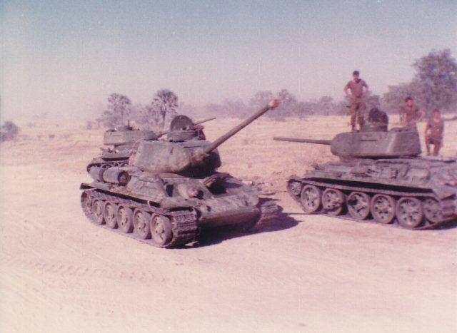 Angolan T-34/85 tanks in South African custody during Border War after being captured by them.