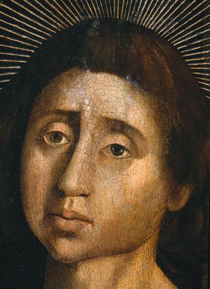 S. Vicente atado à coluna/ Pormenor da cabeça do santo (2), Oficina de Nuno Gonçalves, [c. 1450-1490], Museu Nacional de Arte Antiga.
