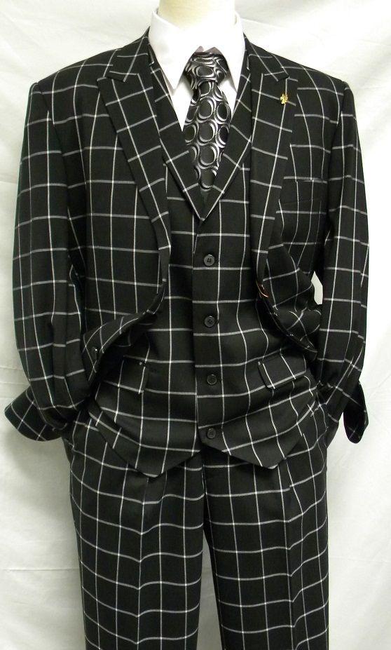 Falcone Mens Black Square Plaid 3 Pc. Suit Pett Vest 5274-000